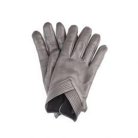 SOPHIA Grey Leather and Cashmere Embellished Gloves