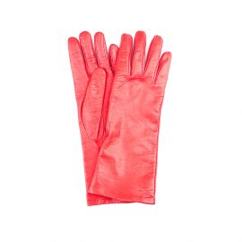 GRACE Red Lamb Leather and Silk Gloves