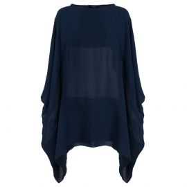 DILEMMA Blue Silk Rectangular Short Dress
