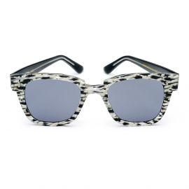 KYME SUNGLASSES Ricky Crystal Black Cream Melange Frame with Grey Lenses