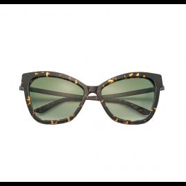 KYME SUNGLASSES Gianna Dark Havana Acetate Frame and Gradient Green Lenses