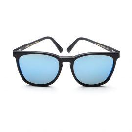 NAIROBI Matte Black Frame with Polarized Blue Mirrored Lenses