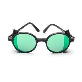 REUNION FLAP Black Acetate and Leather with Green Mirrored Lenses
