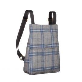 MANTICO Grey & Blue Checks Memo Zayno Backpack