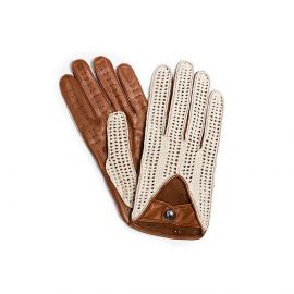 Camel with Cotton Crochet Leather Driving Gloves
