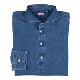 Denim 100% Washed Cotton Long Sleeve Polo Shirt