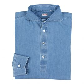 Light Denim 100% Washed Cotton Long Sleeve Polo Shirt