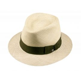 LOJA Classic Toquilla Straw Panama Hat with Green Ribbon
