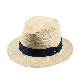 LOJA Classic Toquilla Straw Panama Hat with Blue Ribbon