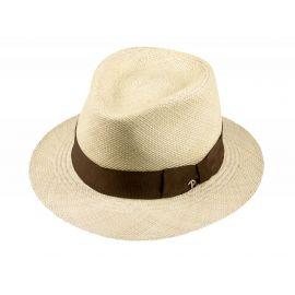 LOJA Classic Toquilla Straw Panama Hat with Tobacco Ribbon