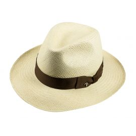 QUITO Classic Toquilla Straw Panama Hat with Tobacco Ribbon