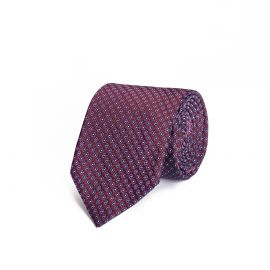 Burgundy with Azure and White Pattern Silk Tie