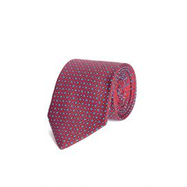 Red with Blue and White Pattern Silk Tie