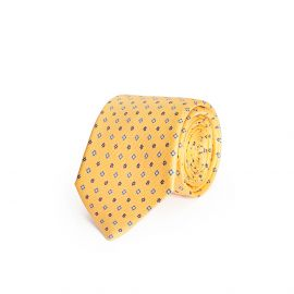 Yellow with Blue Pattern Silk Tie