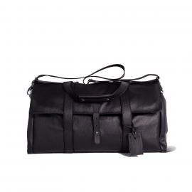 LUDOVICO MARABOTTO REGINALD Black Leather/Regimental Weekend Bag
