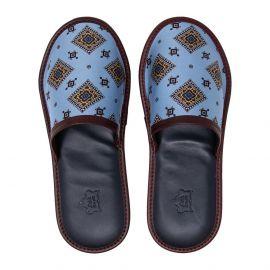 SERA' FINE SILK Blue and Burgundy Silk & Leather Slippers