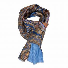 SERA' FINE SILK Blue and Orange Paisley Silk Scarf