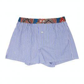 SERA' FINE SILK Blue Striped Cotton Boxers