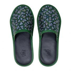 SERA' FINE SILK Green Silk & Leather Slippers