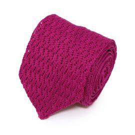 SERA' FINE SILK Hot Pink Zig Zag V-Point Knitted Tie