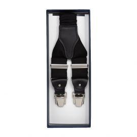 SERA' FINE SILK Black Silk and Leather Braces