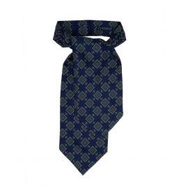 SERA' FINE SILK Blue with Squares Pattern Silk Ascot
