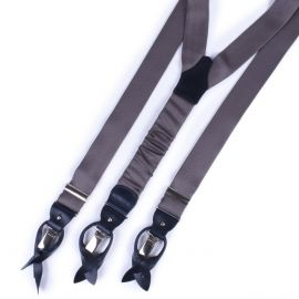 SERA' FINE SILK Braces Silk And Leather Grey