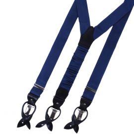 SERA' FINE SILK Braces Silk And Leather Navy Blue