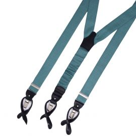 SERA' FINE SILK Braces Silk And Leather Turquoise With Dots