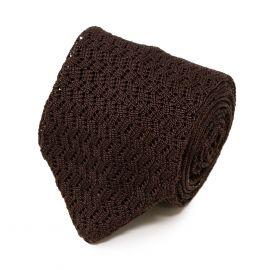 SERA' FINE SILK Brown Zig Zag V-Point Knitted Tie