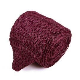 SERA' FINE SILK Burgundy Zig Zag V-Point Knitted Tie