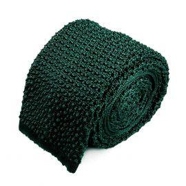 SERA' FINE SILK Forest Green Crochet Knitted Silk Tie
