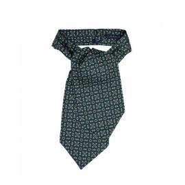 SERA' FINE SILK Green Medallions Pattern Silk Ascot