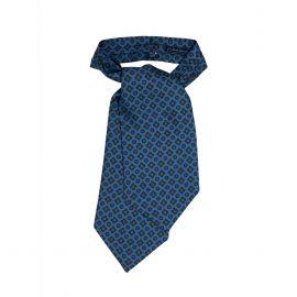 SERA' FINE SILK Light Blue Pattern Silk Ascot