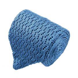 SERA' FINE SILK Light Blue Zig Zag V-Point Knitted Tie