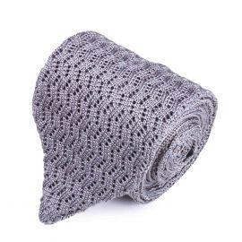 SERA' FINE SILK Light Grey Zig Zag V-Point Knitted Tie