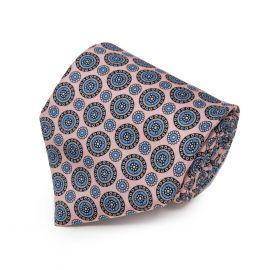 SERA' FINE SILK Light Pink with Round Pattern Silk Tie