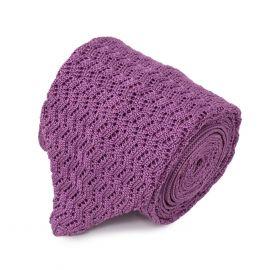 SERA' FINE SILK Lilac Zig Zag V-Point Knitted Tie
