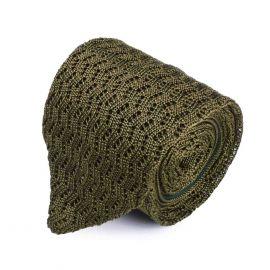 SERA' FINE SILK Olive Green Zig Zag V-Point Knitted Tie