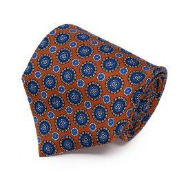 SERA' FINE SILK Orange with Blue Round Pattern Silk Tie