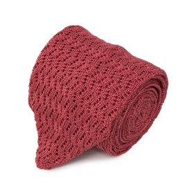 SERA' FINE SILK Peach Zig Zag V-Point Knitted Tie