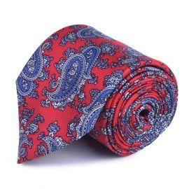 SERA' FINE SILK Red and Blue Paisley Printed Tie