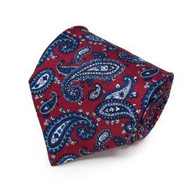 SERA' FINE SILK Red with Blue Paisley Pattern Silk Tie