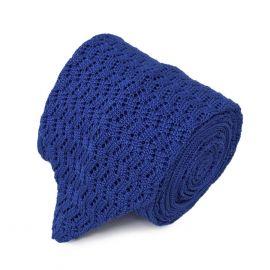 SERA' FINE SILK Royal Blue Zig Zag V-Point Knitted Tie