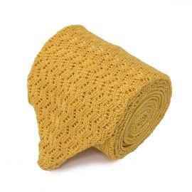 SERA' FINE SILK Yellow Zig Zag V-Point Knitted Tie