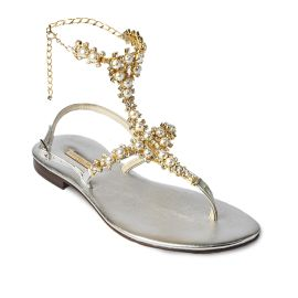 SILVER High with Pearls Embellished Sandals