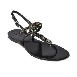 SNAKE Black with Transparent Crystals Embellished Sandals