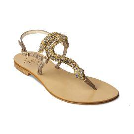 SNAKE light with Golden Crystals Embellished Sandals