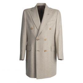 VIRUM NAPOLI Beige and Cream Herringbone Double-Breasted Coat