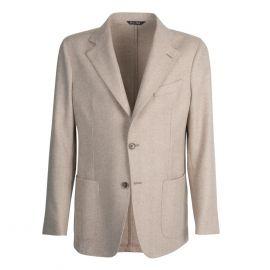 VIRUM NAPOLI Beige and Cream Herringbone Single-Breasted Jacket